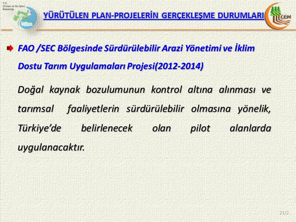 21/2 FAO /SEC Bölgesinde Sürdürülebilir Arazi Yönetimi ve İklim Dostu Tarım Uygulamaları Projesi(2012-2014) Doğal kaynak bozulumunun kontrol altına alınması ve tarımsal faaliyetlerin sürdürülebilir olmasına yönelik, Türkiye'de belirlenecek olan pilot alanlarda uygulanacaktır.