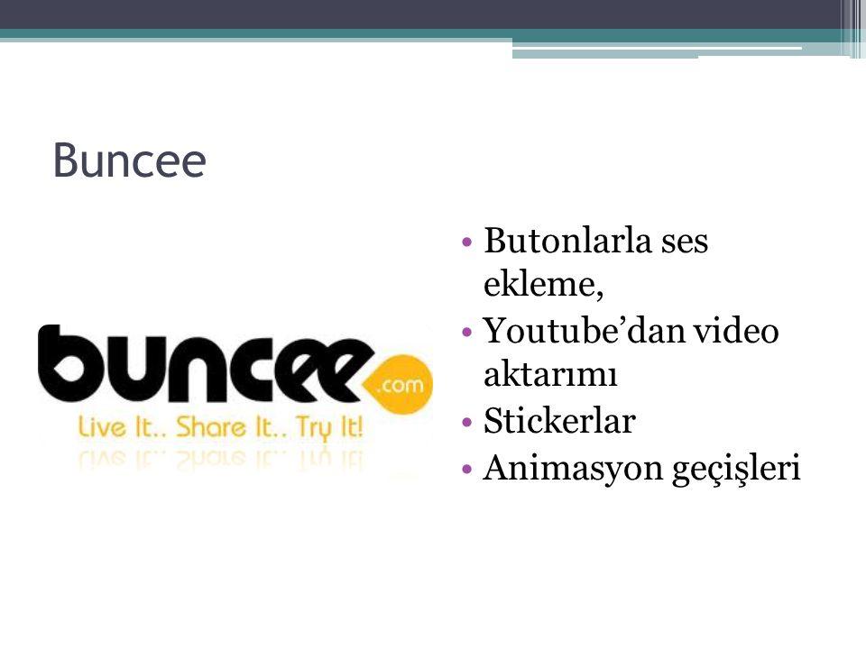 Buncee Butonlarla ses ekleme, Youtube'dan video aktarımı Stickerlar Animasyon geçişleri