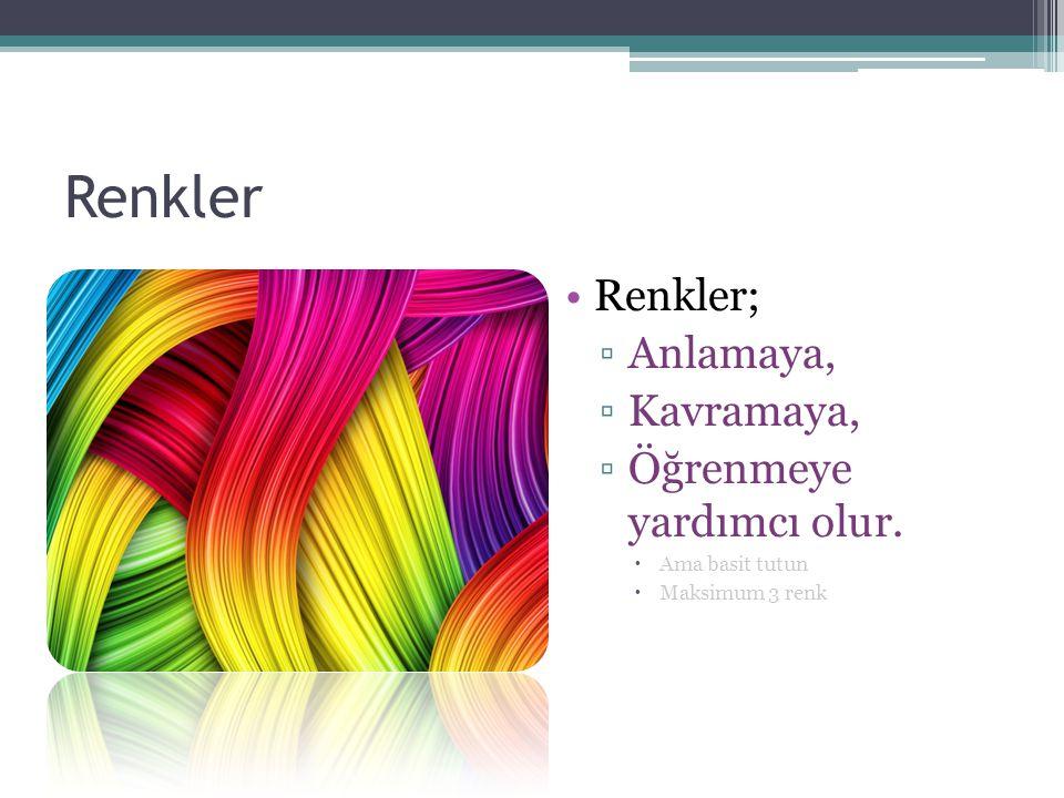 Renkler Renkler; ▫Anlamaya, ▫Kavramaya, ▫Öğrenmeye yardımcı olur.  Ama basit tutun  Maksimum 3 renk