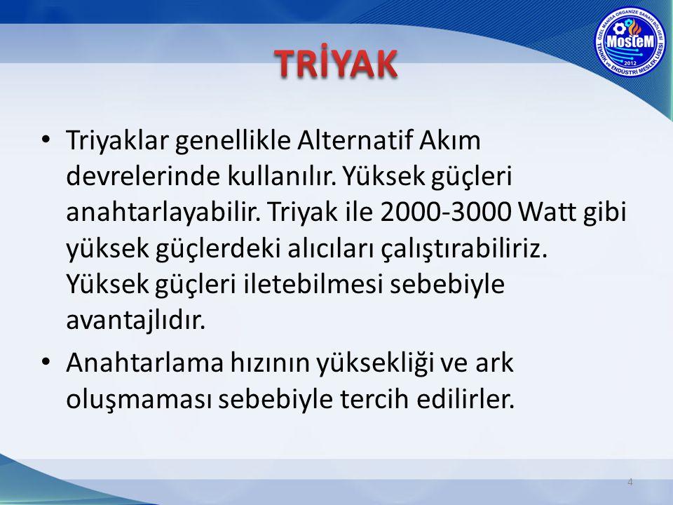 Triyaklar genellikle Alternatif Akım devrelerinde kullanılır. Yüksek güçleri anahtarlayabilir. Triyak ile 2000-3000 Watt gibi yüksek güçlerdeki alıcıl