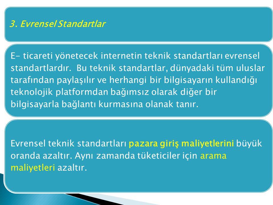 3. Evrensel Standartlar E- ticareti yönetecek internetin teknik standartları evrensel standartlardır. Bu teknik standartlar, dünyadaki tüm uluslar tar