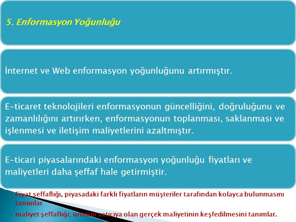 5. Enformasyon Yoğunluğuİnternet ve Web enformasyon yoğunluğunu artırmıştır. E-ticaret teknolojileri enformasyonun güncelliğini, doğruluğunu ve zamanl