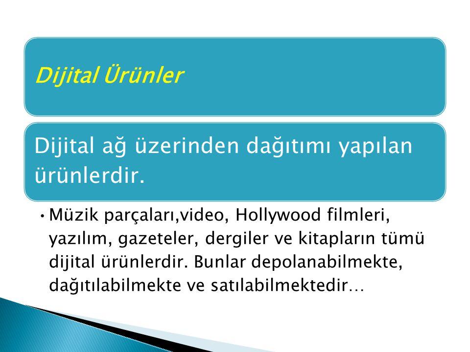 Dijital Ürünler Dijital ağ üzerinden dağıtımı yapılan ürünlerdir. Müzik parçaları,video, Hollywood filmleri, yazılım, gazeteler, dergiler ve kitapları
