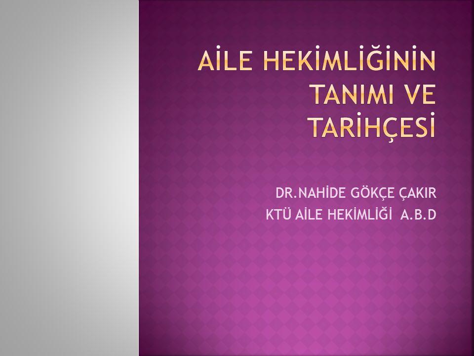  TÜRKİYE'DE AİLE HEKİMLİĞİNİN TARİHÇESİ VE GELİŞMESİ  1994 : Aile Hekimliği pilot uygulama merkezleri ilk olarak Ankara'da ve daha sonra Bursa, Adana ve İzmir'de açıldı  1997 : Türkiye Aile Hekimliği dergisi yayınlanmaya başladı  2003 : Türkiye Dünya Aile Hekimleri Birliği (WONCA)'ya tam üye oldu