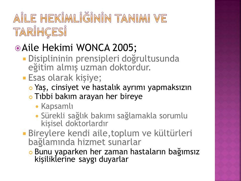  Aile Hekimi WONCA 2005;  Disiplininin prensipleri doğrultusunda eğitim almış uzman doktordur.  Esas olarak kişiye; Yaş, cinsiyet ve hastalık ayrım