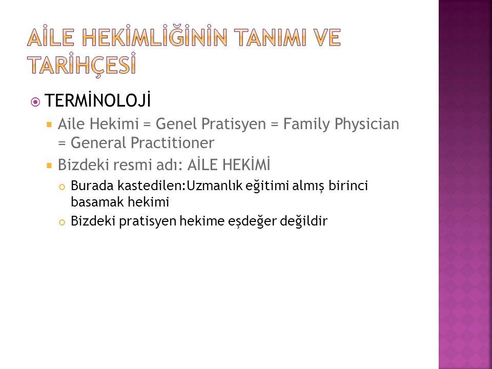  TERMİNOLOJİ  Aile Hekimi = Genel Pratisyen = Family Physician = General Practitioner  Bizdeki resmi adı: AİLE HEKİMİ Burada kastedilen:Uzmanlık eğ