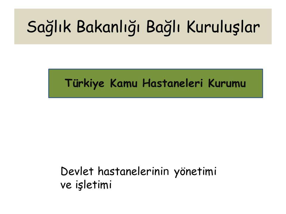 Sağlık Bakanlığı Bağlı Kuruluşlar Türkiye Kamu Hastaneleri Kurumu Devlet hastanelerini n yönetimi ve işletimi
