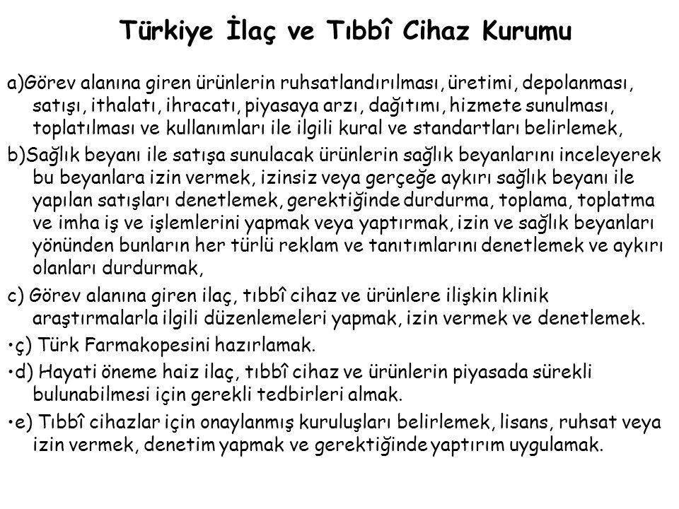 Türkiye İlaç ve Tıbbî Cihaz Kurumu a)Görev alanına giren ürünlerin ruhsatlandırılması, üretimi, depolanması, satışı, ithalatı, ihracatı, piyasaya arzı