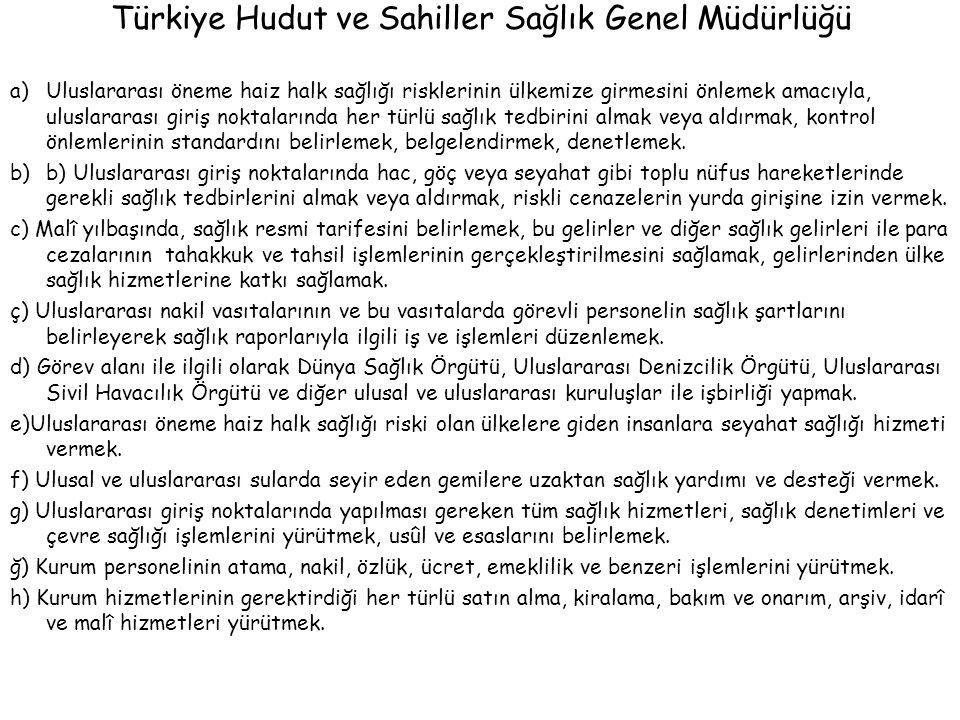 Türkiye Hudut ve Sahiller Sağlık Genel Müdürlüğü a)Uluslararası öneme haiz halk sağlığı risklerinin ülkemize girmesini önlemek amacıyla, uluslararası