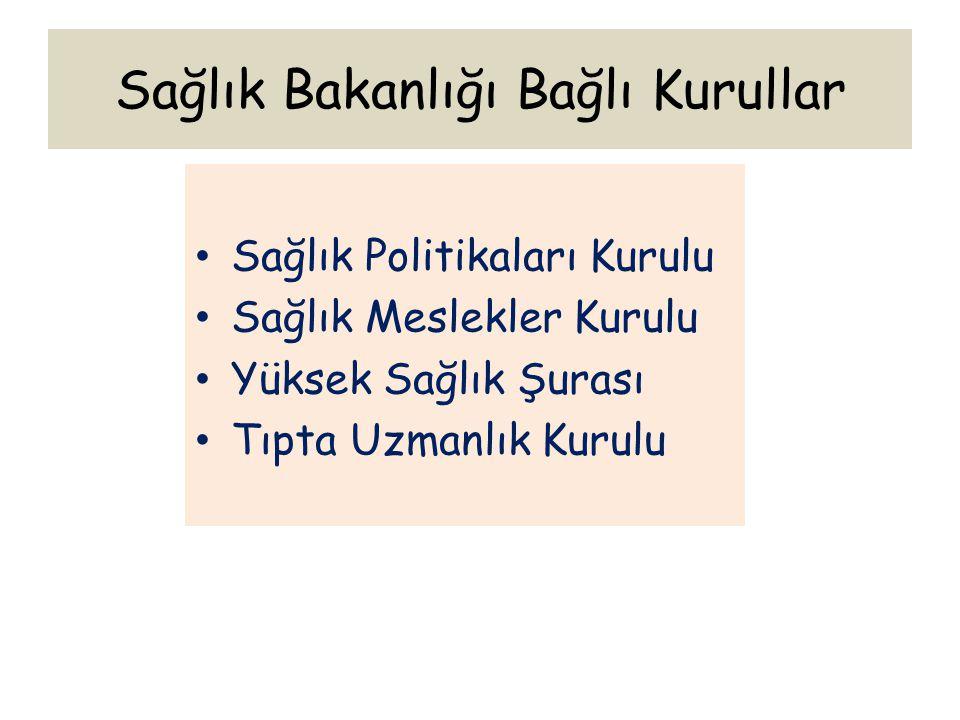 Sağlık Bakanlığı Bağlı Kurullar Sağlık Politikaları Kurulu Sağlık Meslekler Kurulu Yüksek Sağlık Şurası Tıpta Uzmanlık Kurulu