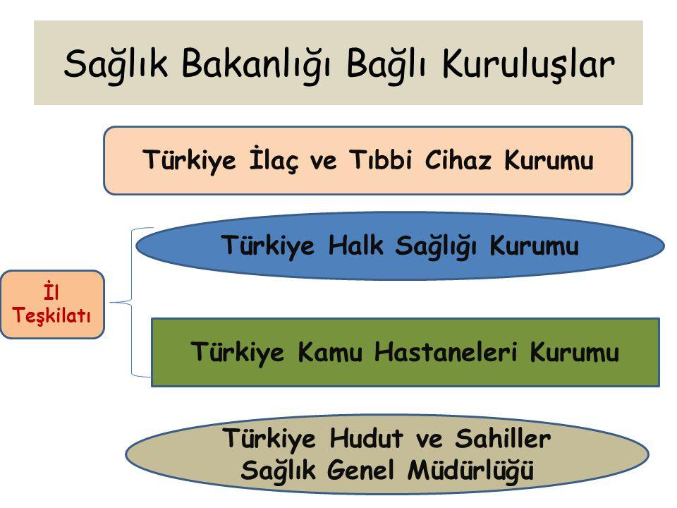 Sağlık Bakanlığı Bağlı Kuruluşlar Türkiye İlaç ve Tıbbi Cihaz Kurumu Türkiye Halk Sağlığı Kurumu Türkiye Kamu Hastaneleri Kurumu Türkiye Hudut ve Sahi