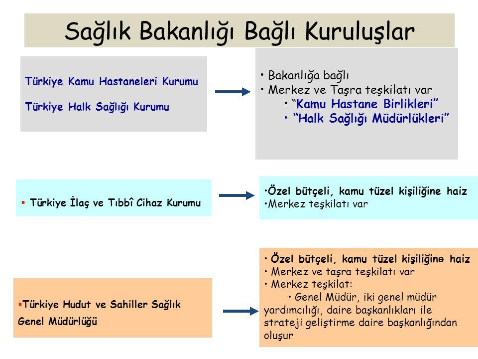  Türkiye Hudut ve Sahiller Sağlık Genel Müdürlüğü Türkiye Kamu Hastaneleri Kurumu Türkiye Halk Sağlığı Kurumu Bakanlığa bağlı Merkez ve Taşra teşkila