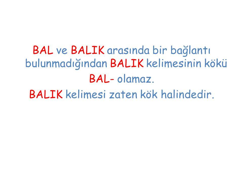 BAL ve BALIK arasında bir bağlantı bulunmadığından BALIK kelimesinin kökü BAL- olamaz. BALIK kelimesi zaten kök halindedir.