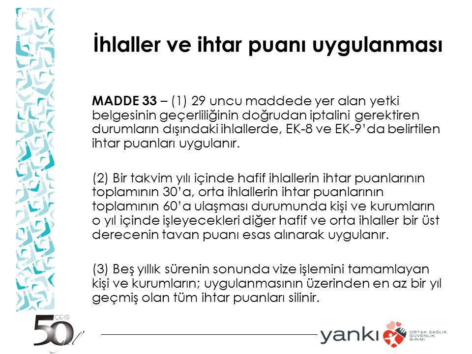 İhlaller ve ihtar puanı uygulanması MADDE 33 – (1) 29 uncu maddede yer alan yetki belgesinin geçerliliğinin doğrudan iptalini gerektiren durumların dı