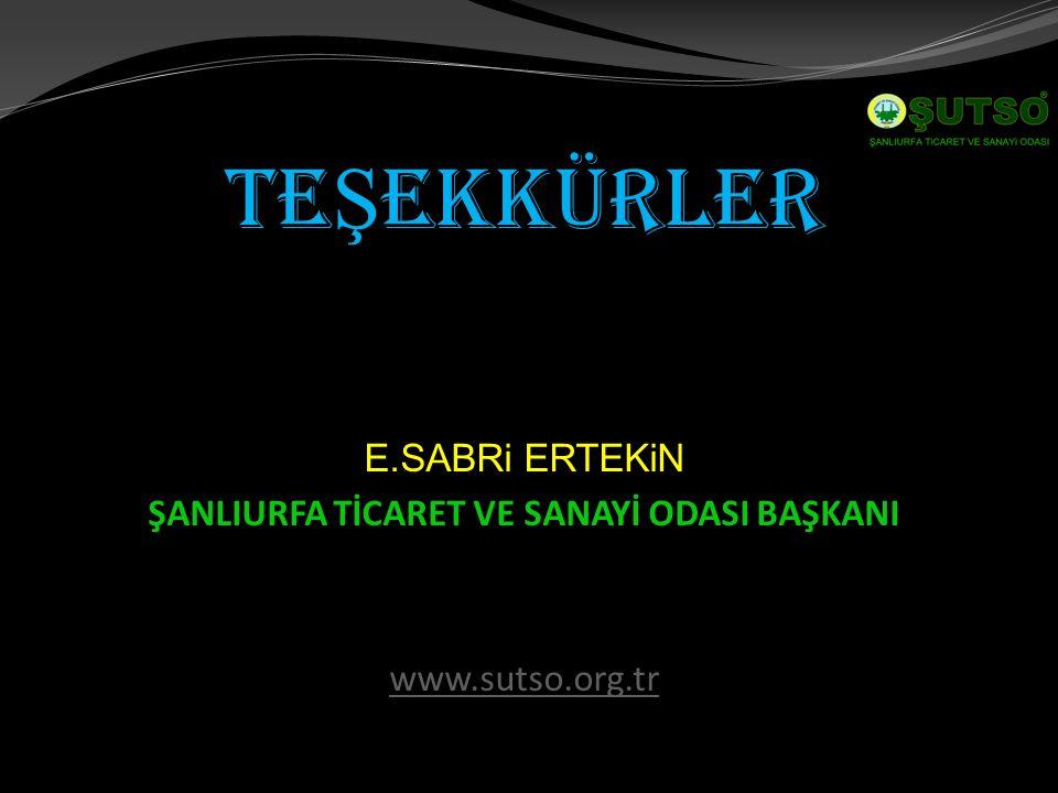 TE Ş EKKÜRLER E.SABRi ERTEKiN ŞANLIURFA TİCARET VE SANAYİ ODASI BAŞKANI www.sutso.org.tr
