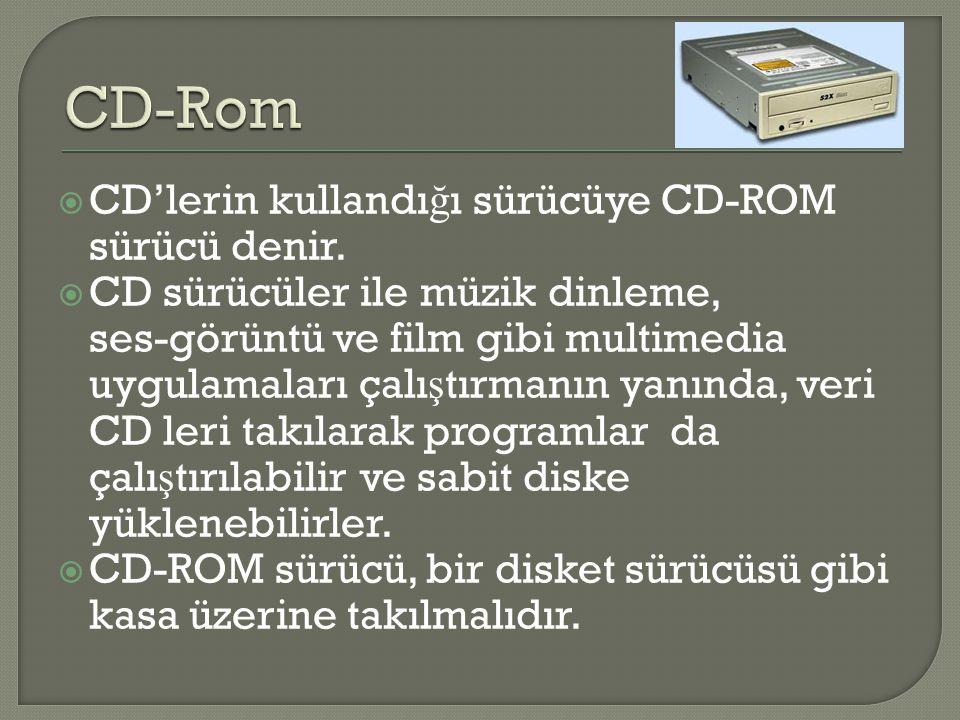  CD'lerin kullandı ğ ı sürücüye CD-ROM sürücü denir.