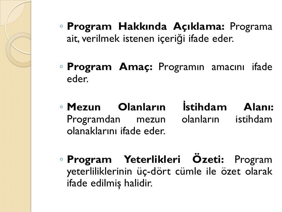 ◦ Program Hakkında Açıklama: Programa ait, verilmek istenen içeri ğ i ifade eder. ◦ Program Amaç: Programın amacını ifade eder. ◦ Mezun Olanların İ st
