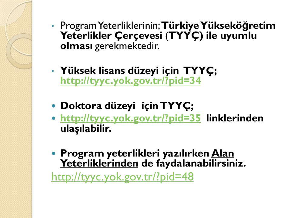 Program Yeterliklerinin; Türkiye Yüksekö ğ retim Yeterlikler Çerçevesi (TYYÇ) ile uyumlu olması gerekmektedir. Yüksek lisans düzeyi için TYYÇ; http://