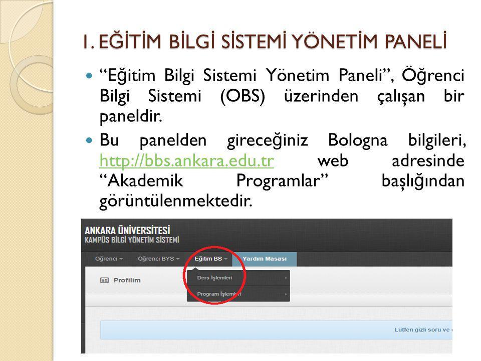 """1. E Ğİ T İ M B İ LG İ S İ STEM İ YÖNET İ M PANEL İ """"E ğ itim Bilgi Sistemi Yönetim Paneli"""", Ö ğ renci Bilgi Sistemi (OBS) üzerinden çalışan bir panel"""