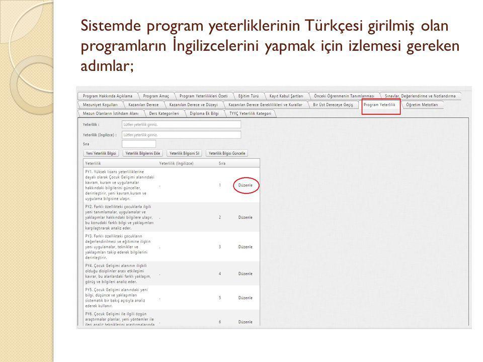 Sistemde program yeterliklerinin Türkçesi girilmiş olan programların İ ngilizcelerini yapmak için izlemesi gereken adımlar;