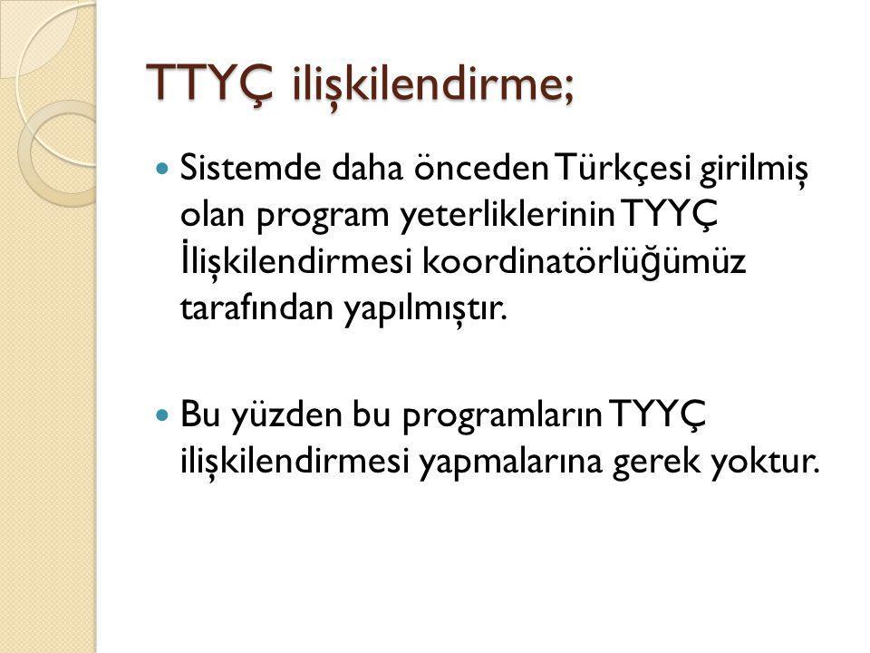 TTYÇ ilişkilendirme; Sistemde daha önceden Türkçesi girilmiş olan program yeterliklerinin TYYÇ İ lişkilendirmesi koordinatörlü ğ ümüz tarafından yapıl