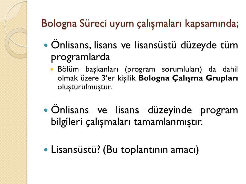 Bologna Süreci uyum çalışmaları kapsamında; Önlisans, lisans ve lisansüstü düzeyde tüm programlarda Bölüm başkanları (program sorumluları) da dahil ol