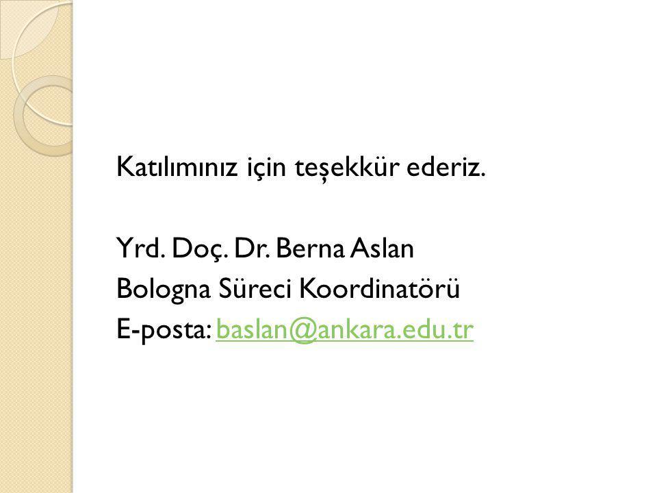 Katılımınız için teşekkür ederiz. Yrd. Doç. Dr. Berna Aslan Bologna Süreci Koordinatörü E-posta: baslan@ankara.edu.trbaslan@ankara.edu.tr