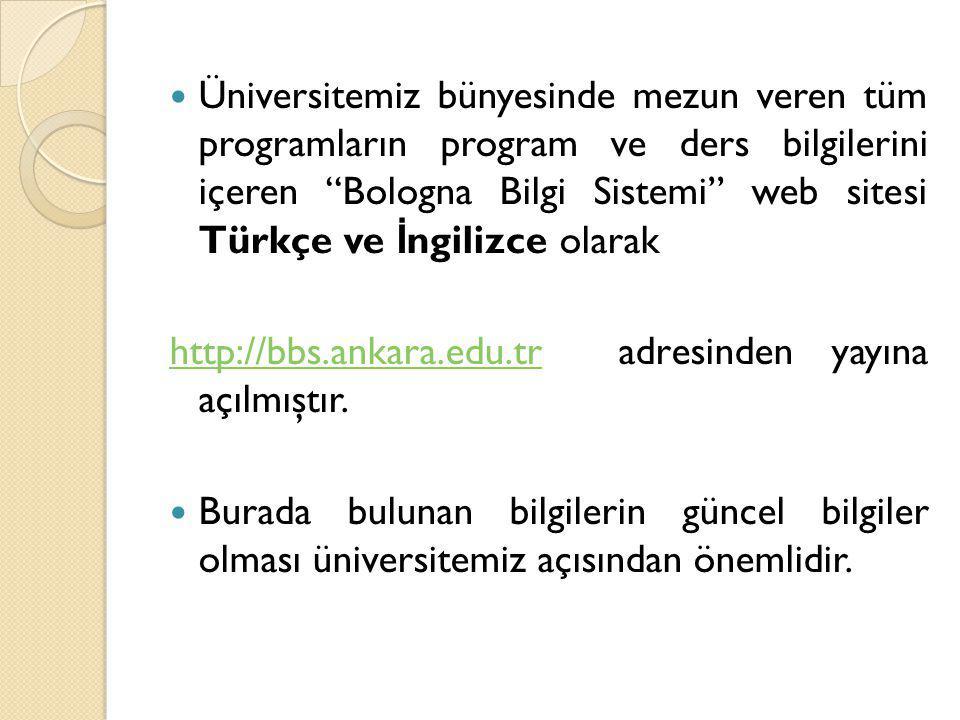 """Üniversitemiz bünyesinde mezun veren tüm programların program ve ders bilgilerini içeren """"Bologna Bilgi Sistemi"""" web sitesi Türkçe ve İ ngilizce olara"""