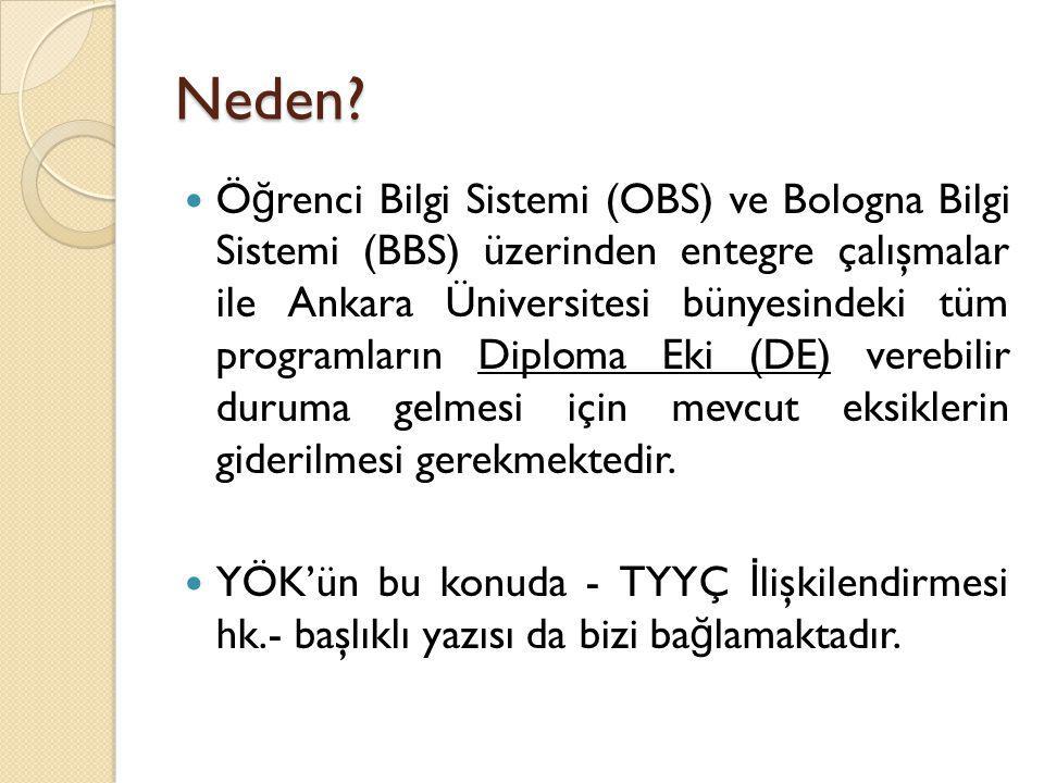Neden? Ö ğ renci Bilgi Sistemi (OBS) ve Bologna Bilgi Sistemi (BBS) üzerinden entegre çalışmalar ile Ankara Üniversitesi bünyesindeki tüm programların