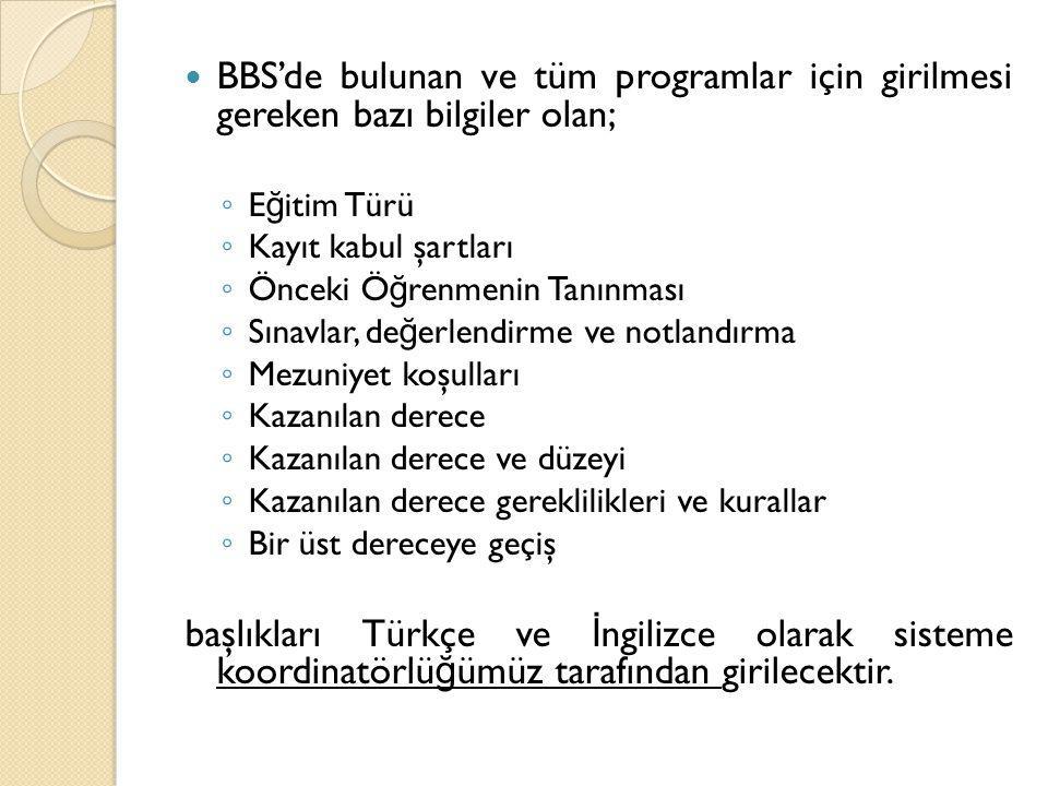 BBS'de bulunan ve tüm programlar için girilmesi gereken bazı bilgiler olan; ◦ E ğ itim Türü ◦ Kayıt kabul şartları ◦ Önceki Ö ğ renmenin Tanınması ◦ S
