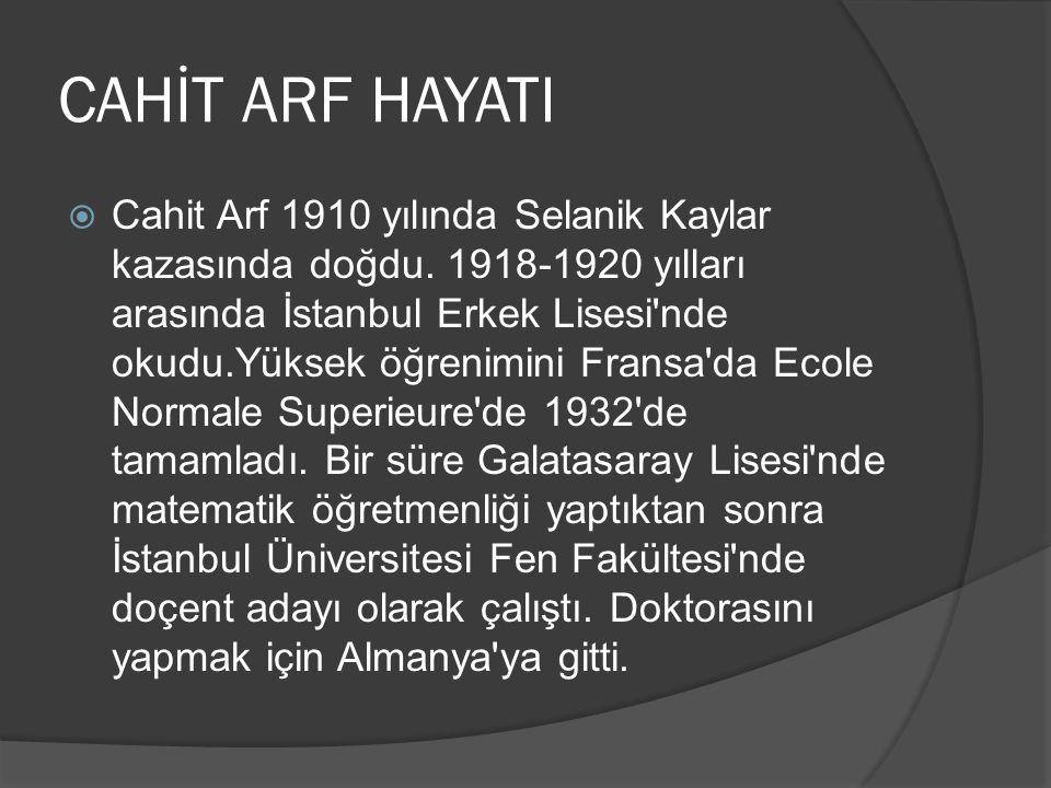  Cahit Arf 1910 yılında Selanik Kaylar kazasında doğdu. 1918-1920 yılları arasında İstanbul Erkek Lisesi'nde okudu.Yüksek öğrenimini Fransa'da Ecole