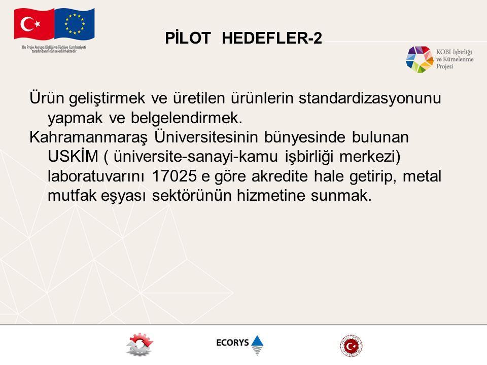 PİLOT HEDEFLER-2 Ürün geliştirmek ve üretilen ürünlerin standardizasyonunu yapmak ve belgelendirmek.