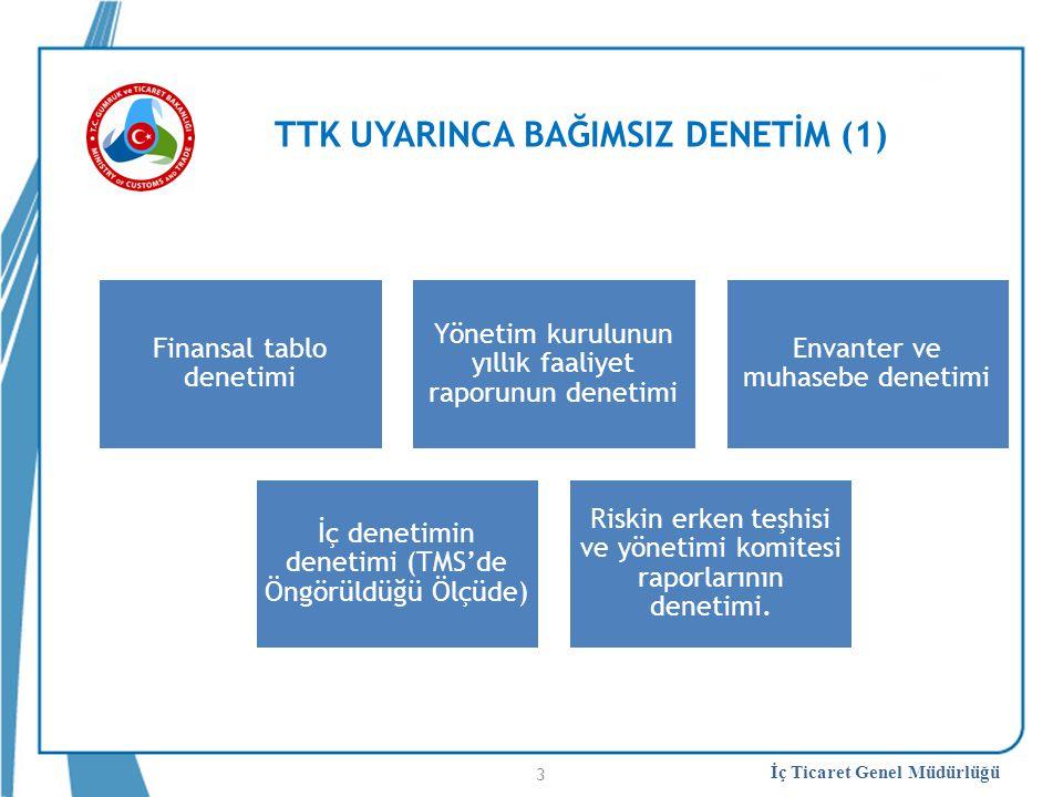 İç Ticaret Genel Müdürlüğü TTK UYARINCA BAĞIMSIZ DENETİM (1) Finansal tablo denetimi Yönetim kurulunun yıllık faaliyet raporunun denetimi Envanter ve