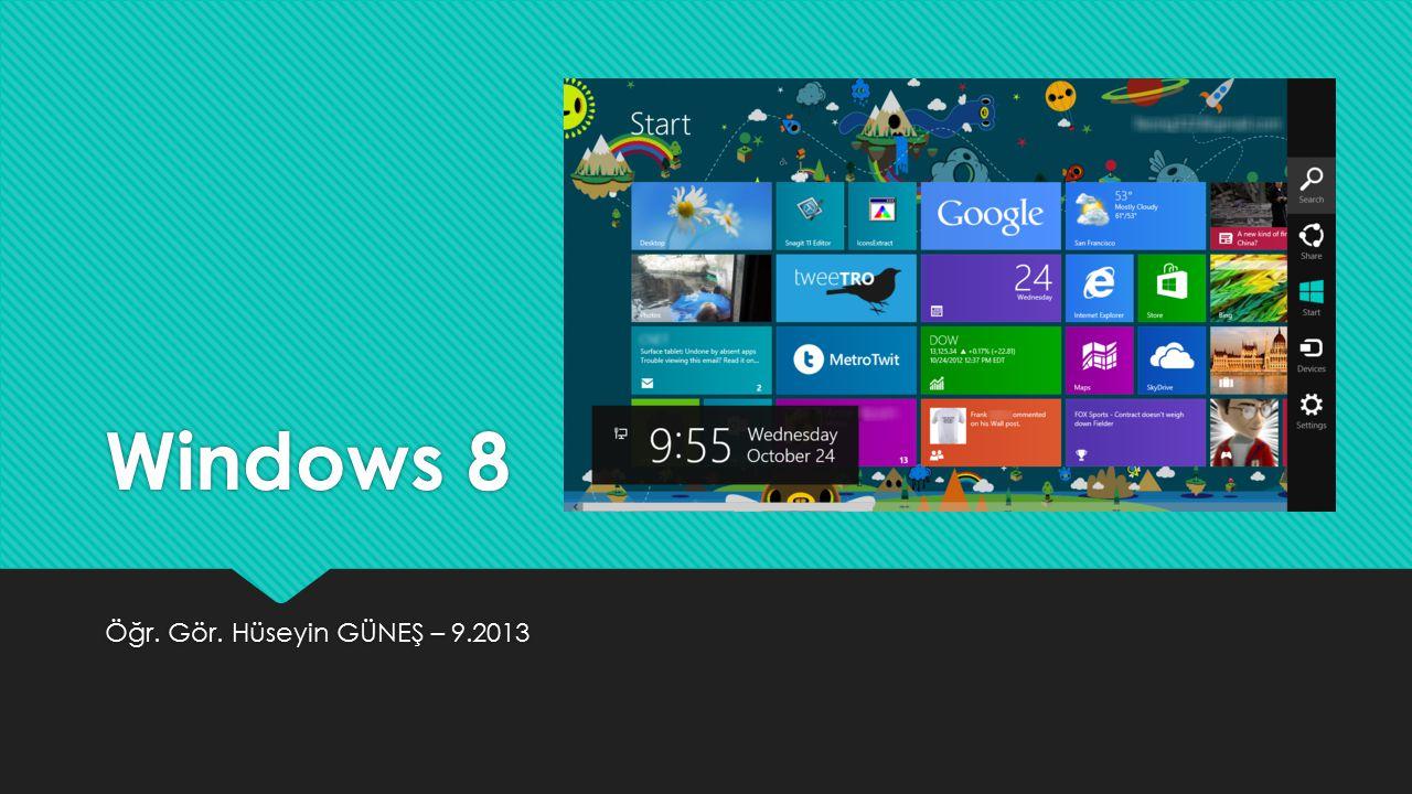 Windows 8 Öğr. Gör. Hüseyin GÜNEŞ – 9.2013