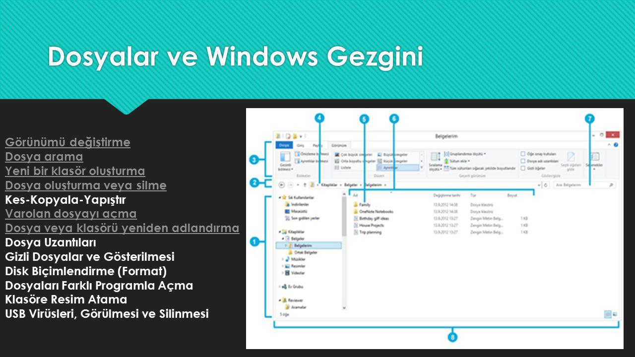 Dosyalar ve Windows Gezgini Görünümü değiştirme Dosya arama Yeni bir klasör oluşturma Dosya oluşturma veya silme Kes-Kopyala-Yapıştır Varolan dosyayı