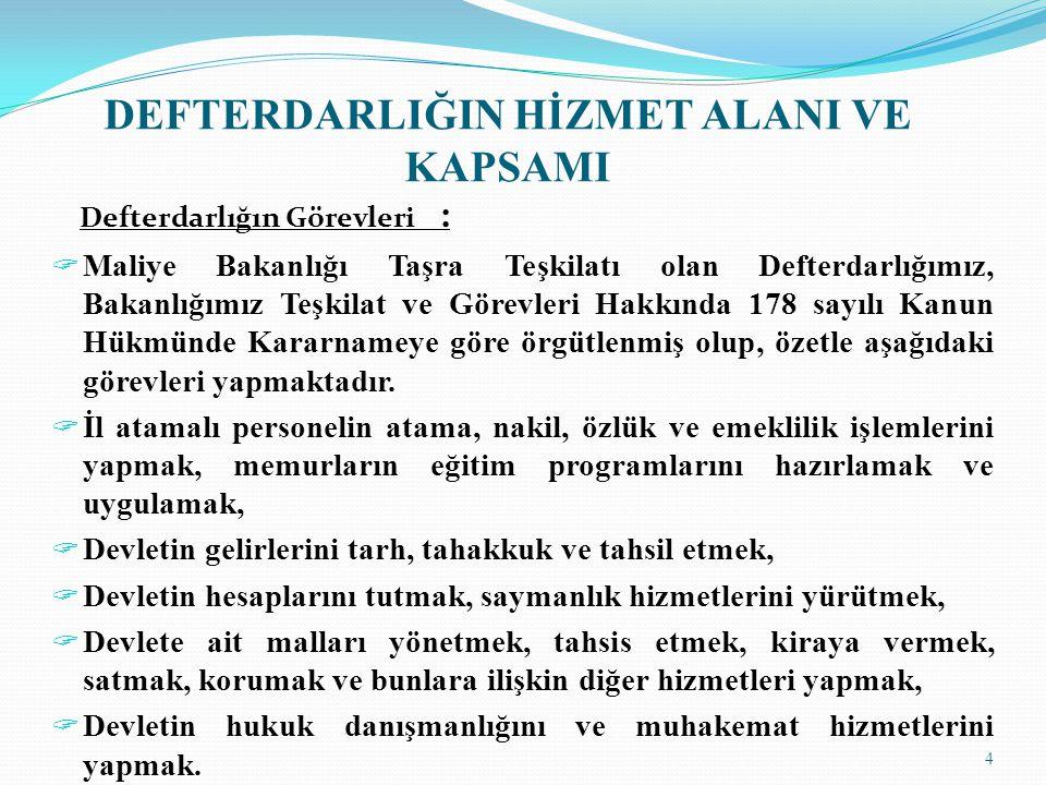 DEFTERDARLIĞIN HİZMET ALANI VE KAPSAMI Defterdarlığın Görevleri :  Maliye Bakanlığı Taşra Teşkilatı olan Defterdarlığımız, Bakanlığımız Teşkilat ve Görevleri Hakkında 178 sayılı Kanun Hükmünde Kararnameye göre örgütlenmiş olup, özetle aşağıdaki görevleri yapmaktadır.