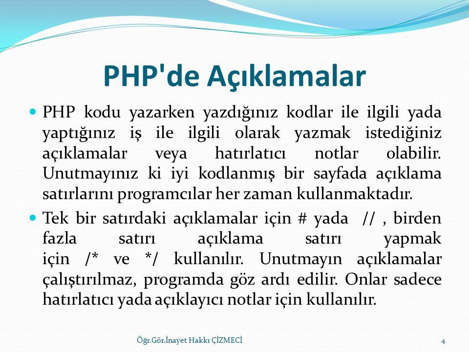 PHP de Açıklamalar PHP kodu yazarken yazdığınız kodlar ile ilgili yada yaptığınız iş ile ilgili olarak yazmak istediğiniz açıklamalar veya hatırlatıcı notlar olabilir.