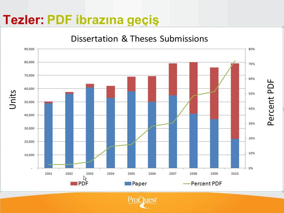 Tezler: PDF ibrazına geçiş  5 yıl önce neredeyse bütün tezler bize kağıt ortamında ulaşmaktaydı.  2010'da ise oran 70/20 duruma geldi.  ProQuest ön