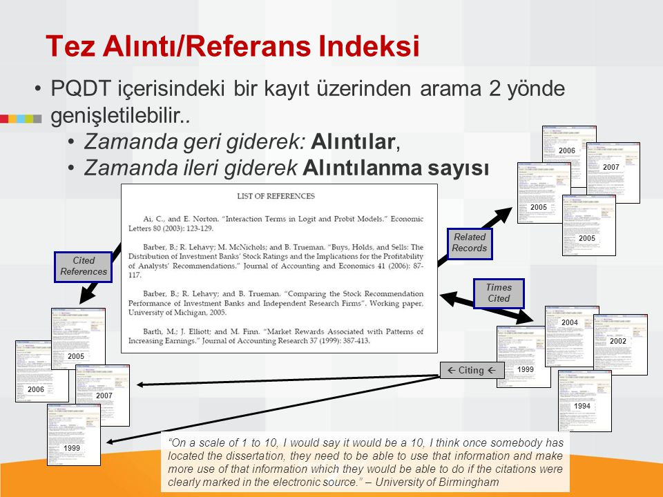 Tez Alıntı/Referans Indeksi 2006 Cited References 2006 2007 2005 1999 2005 Related Records Times Cited 2007 2004 1999 2002 1994 2005  Citing  PQDT i