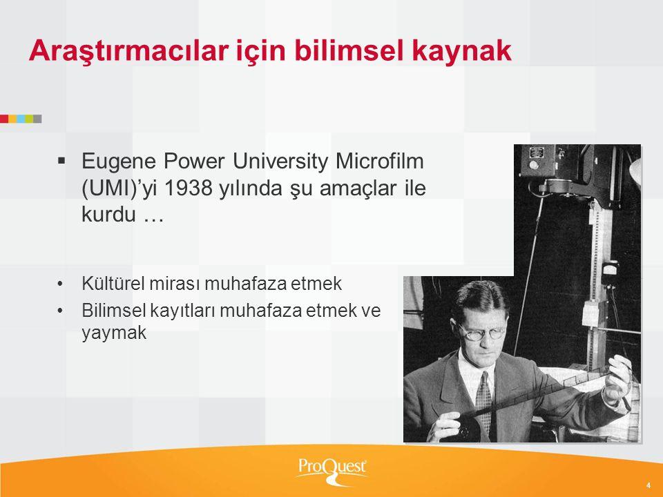 5 Tez yayınında kilometre taşları: UMI 1938 1938 University Microfilms kuruldu 2010