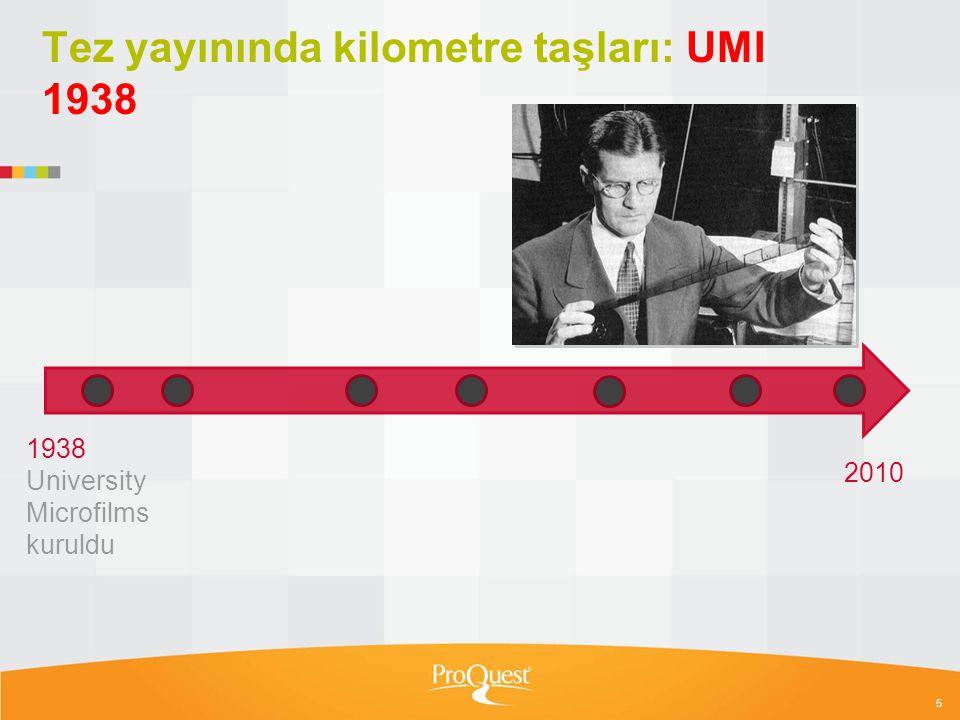 6 Tez yayınında kilometre taşları: ARL tarafından tanındı 1951 1951 ARL, UMI'yi Birleşik Devletler'deki bütün tezlerinin yayıncısı olarak tanıdı 1938 University Microfilms kuruldu 1939 Dissertations Microfilm & Print 2010