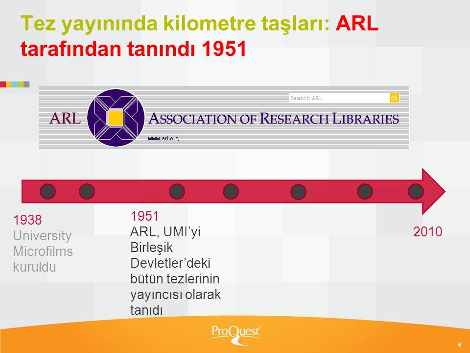 7 Tez yayınında kilometre taşları: CD ROM 1987 1951 ARL, UMI'yi Birleşik Devletler'deki bütün tezlerinin yayıncısı olarak tanıdı 1938 University Microfilms kuruldu 1987 Dissertation Abstracts Ondisc 1st abstract / index product on CD- ROM 1939 Dissertations Microfilm & Print 2010