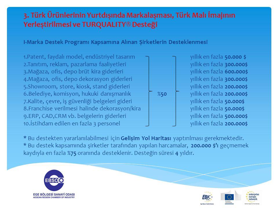 3. Türk Ürünlerinin Yurtdışında Markalaşması, Türk Malı İmajının Yerleştirilmesi ve TURQUALITY® Desteği I-Marka Destek Programı Kapsamına Alınan Şirke