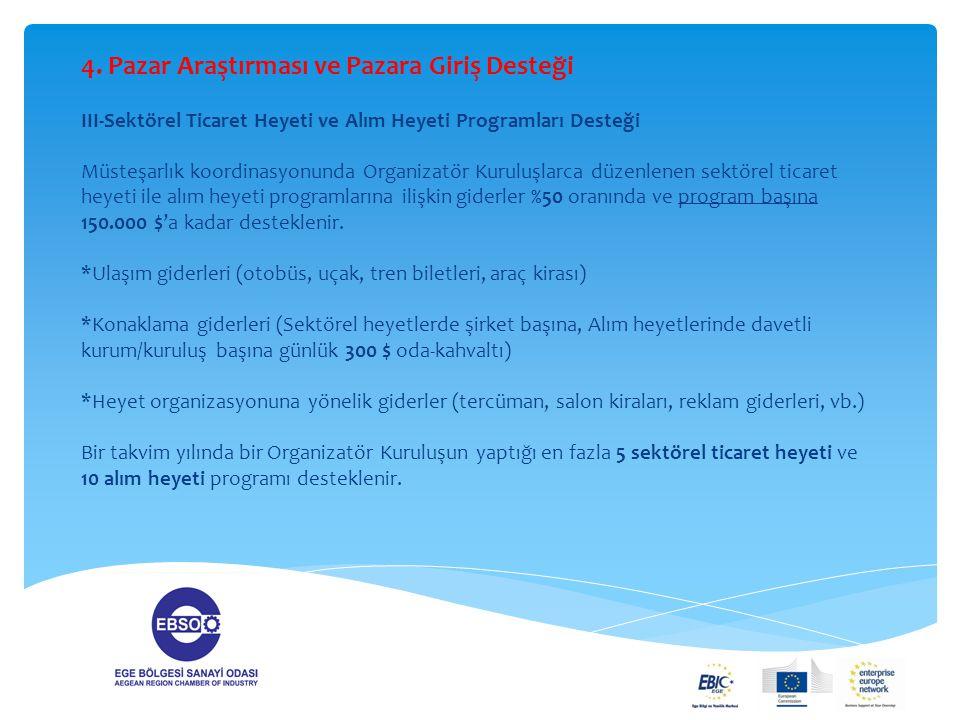 4. Pazar Araştırması ve Pazara Giriş Desteği III-Sektörel Ticaret Heyeti ve Alım Heyeti Programları Desteği Müsteşarlık koordinasyonunda Organizatör K