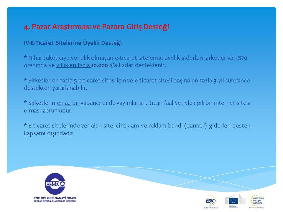 4. Pazar Araştırması ve Pazara Giriş Desteği IV-E-Ticaret Sitelerine Üyelik Desteği * Nihai tüketiciye yönelik olmayan e-ticaret sitelerine üyelik gid