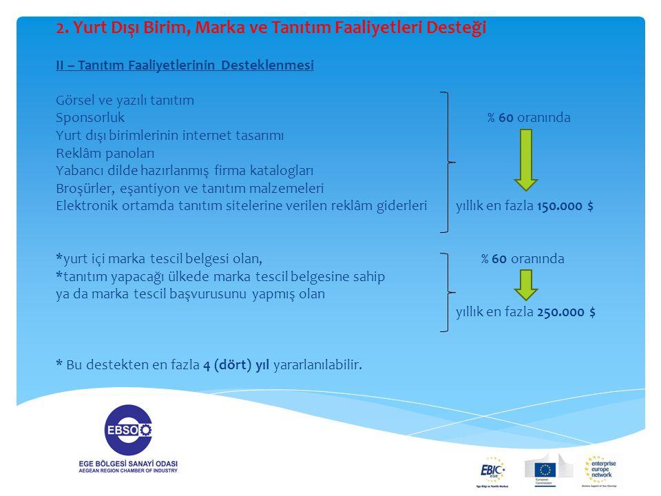 2. Yurt Dışı Birim, Marka ve Tanıtım Faaliyetleri Desteği II – Tanıtım Faaliyetlerinin Desteklenmesi Görsel ve yazılı tanıtım Sponsorluk % 60 oranında