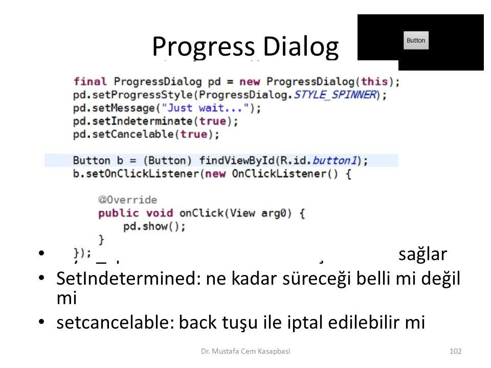 Progress Dialog Style_Spinner : dönen bir daire çıkmasını sağlar SetIndetermined: ne kadar süreceği belli mi değil mi setcancelable: back tuşu ile ipt