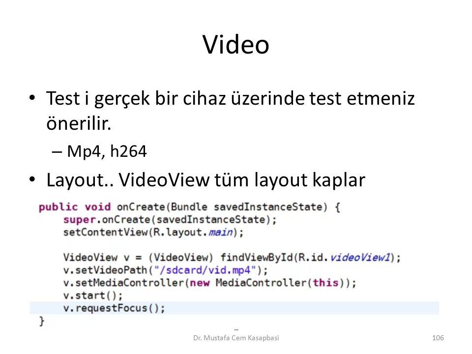 Video Test i gerçek bir cihaz üzerinde test etmeniz önerilir. – Mp4, h264 Layout.. VideoView tüm layout kaplar Dr. Mustafa Cem Kasapbasi106