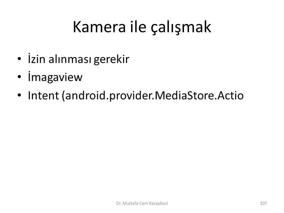 Kamera ile çalışmak İzin alınması gerekir İmagaview Intent (android.provider.MediaStore.Actio Dr. Mustafa Cem Kasapbasi107