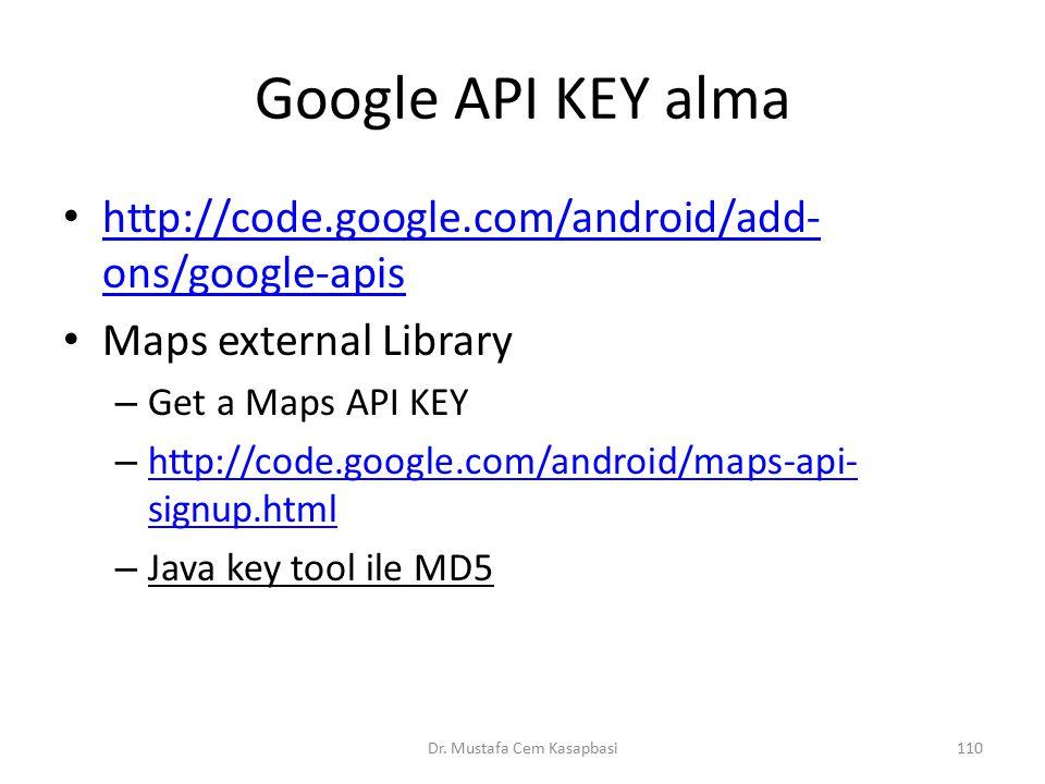 Google API KEY alma http://code.google.com/android/add- ons/google-apis http://code.google.com/android/add- ons/google-apis Maps external Library – Ge